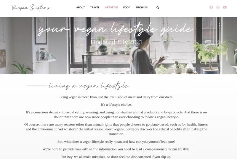 vegan lifestyle pillar page example