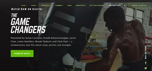 a screenshot of Game Changer vegan website