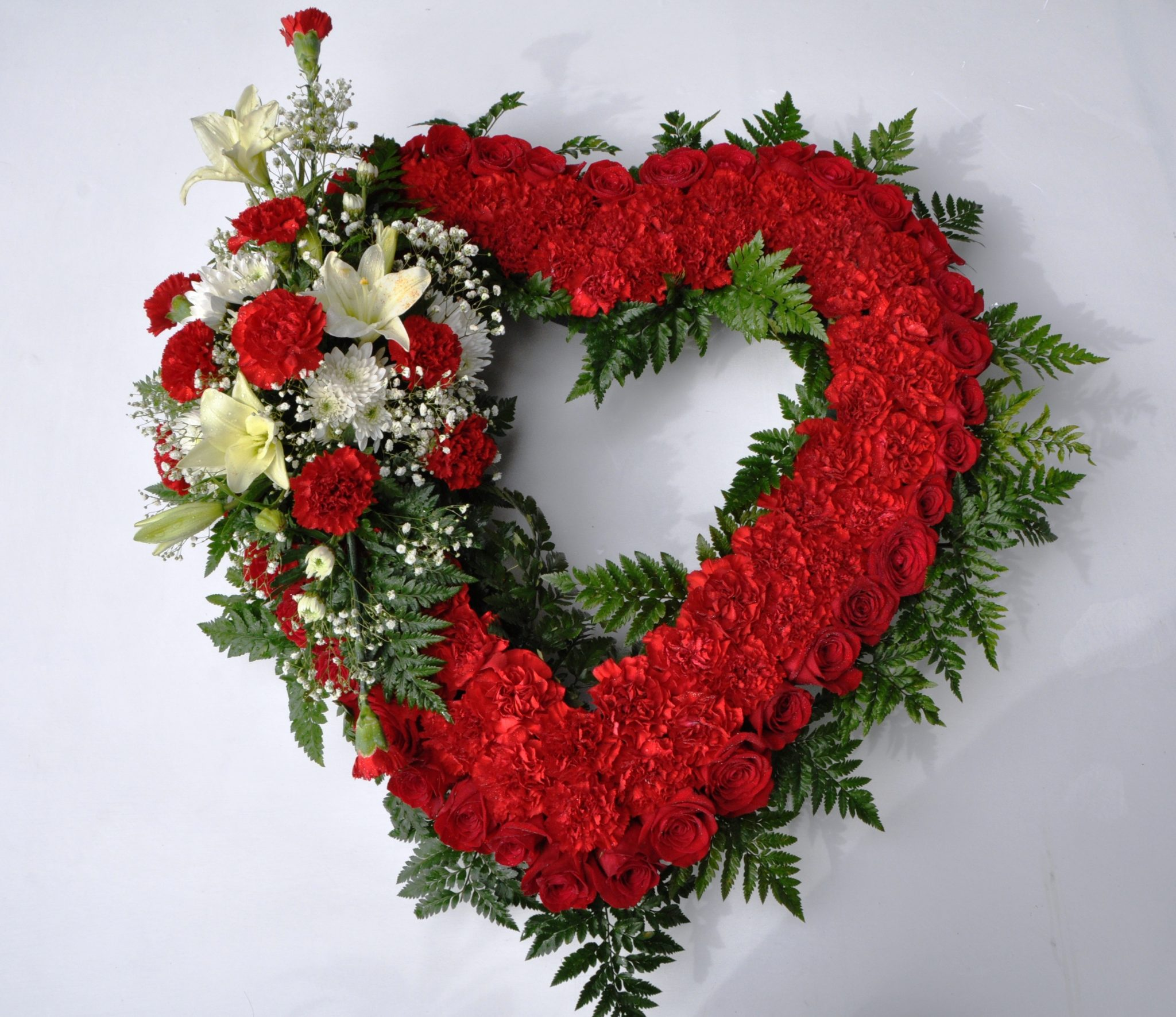 red heart wreath with