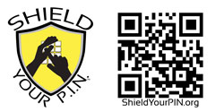 Horizontal Shield Your P.I.N. Logo with QR code. 250px x 125px