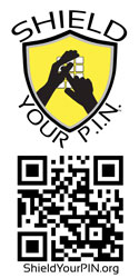 Vertical Shield Your P.I.N. Logo with QR code. 250px x 125px