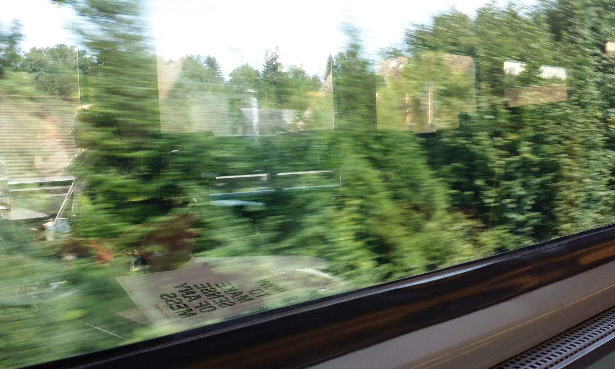 Looking out the window of a moving train at green trees, you can also see the reflection of a book and a woman sitting inside the train car
