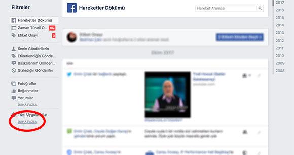 Facebook arama geçmişini silme