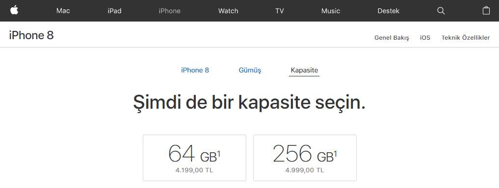 iPhone 8 Türkiye fiyatı