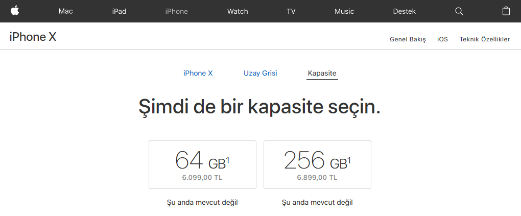 iPhone X Türkiye fiyatı