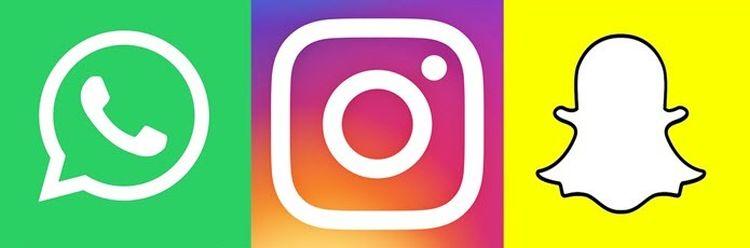 Instagram, WhatsApp, Snapchat