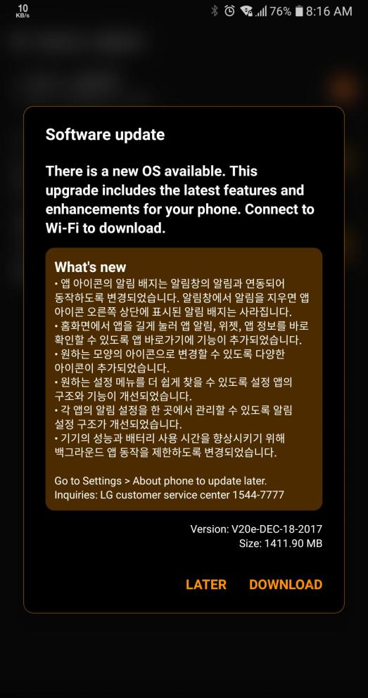 LG V30 için Android Oreo