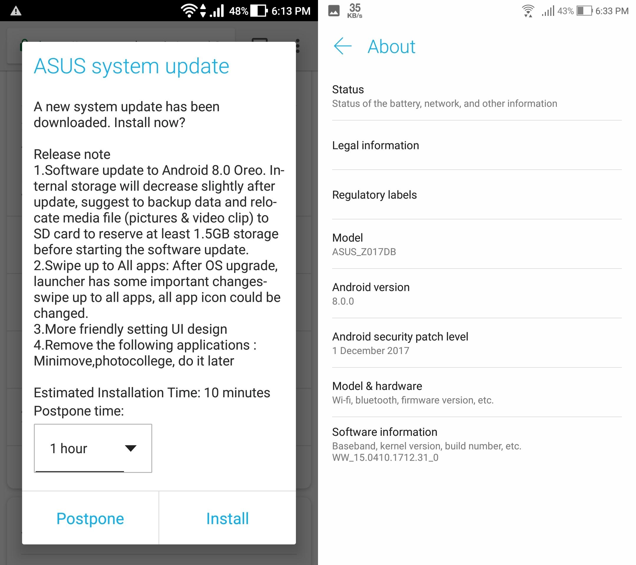 Zenfone 3 için Android Oreo