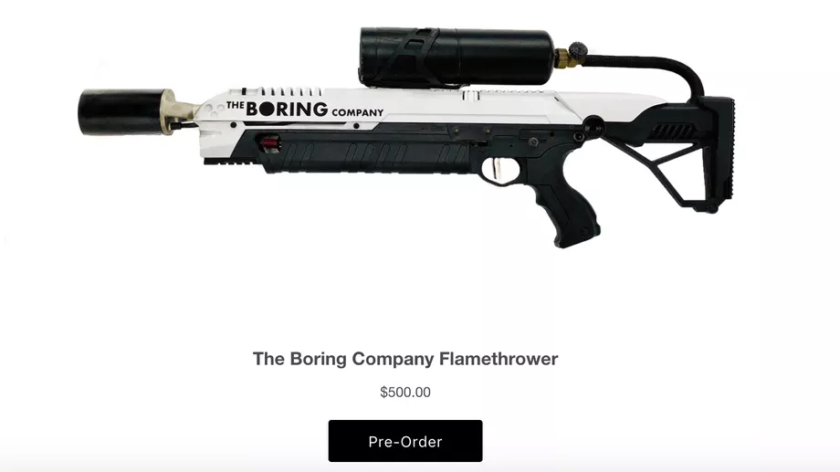 Boring Company Flamethrower - Alev Silahı
