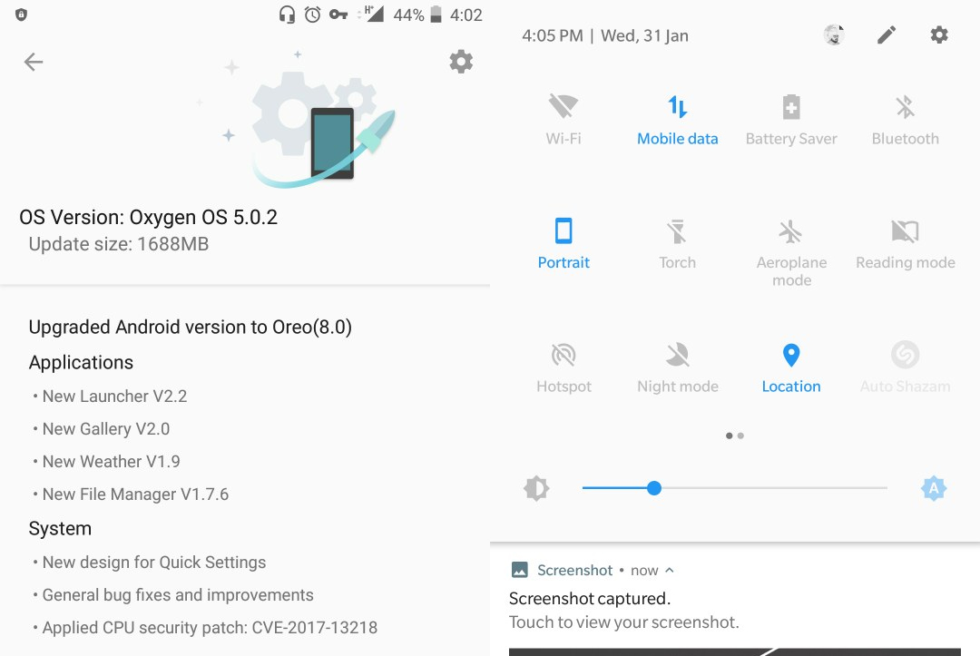 OnePlus 5T için Android Oreo
