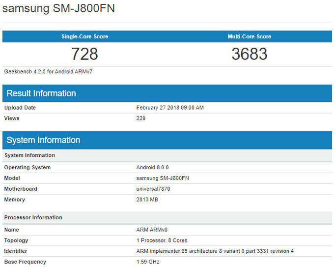 Samsung Galaxy J8 teknik özellikler