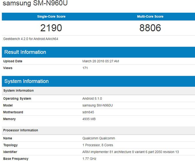 Galaxy Note 9 geekbench