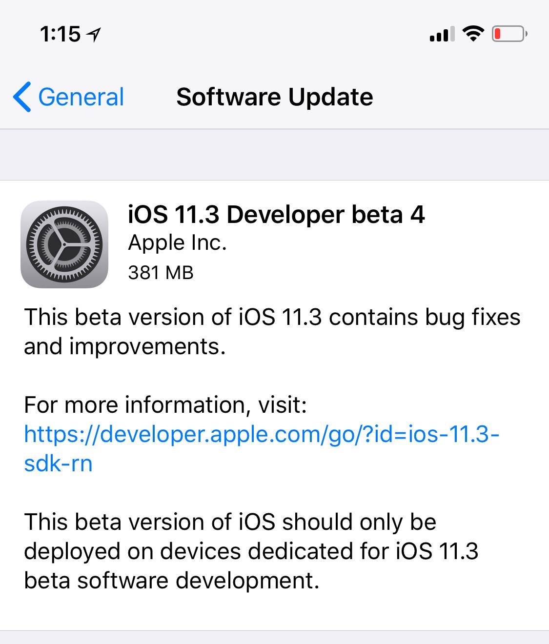 iOS 11.3 Beta 4