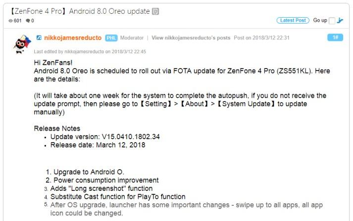 zenfone 4 pro android oreo