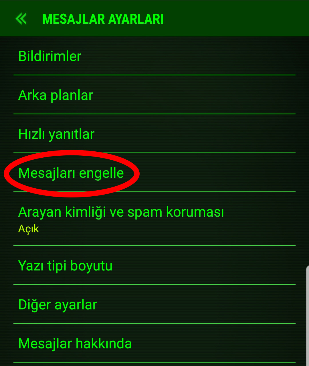 arama sms engelleme android