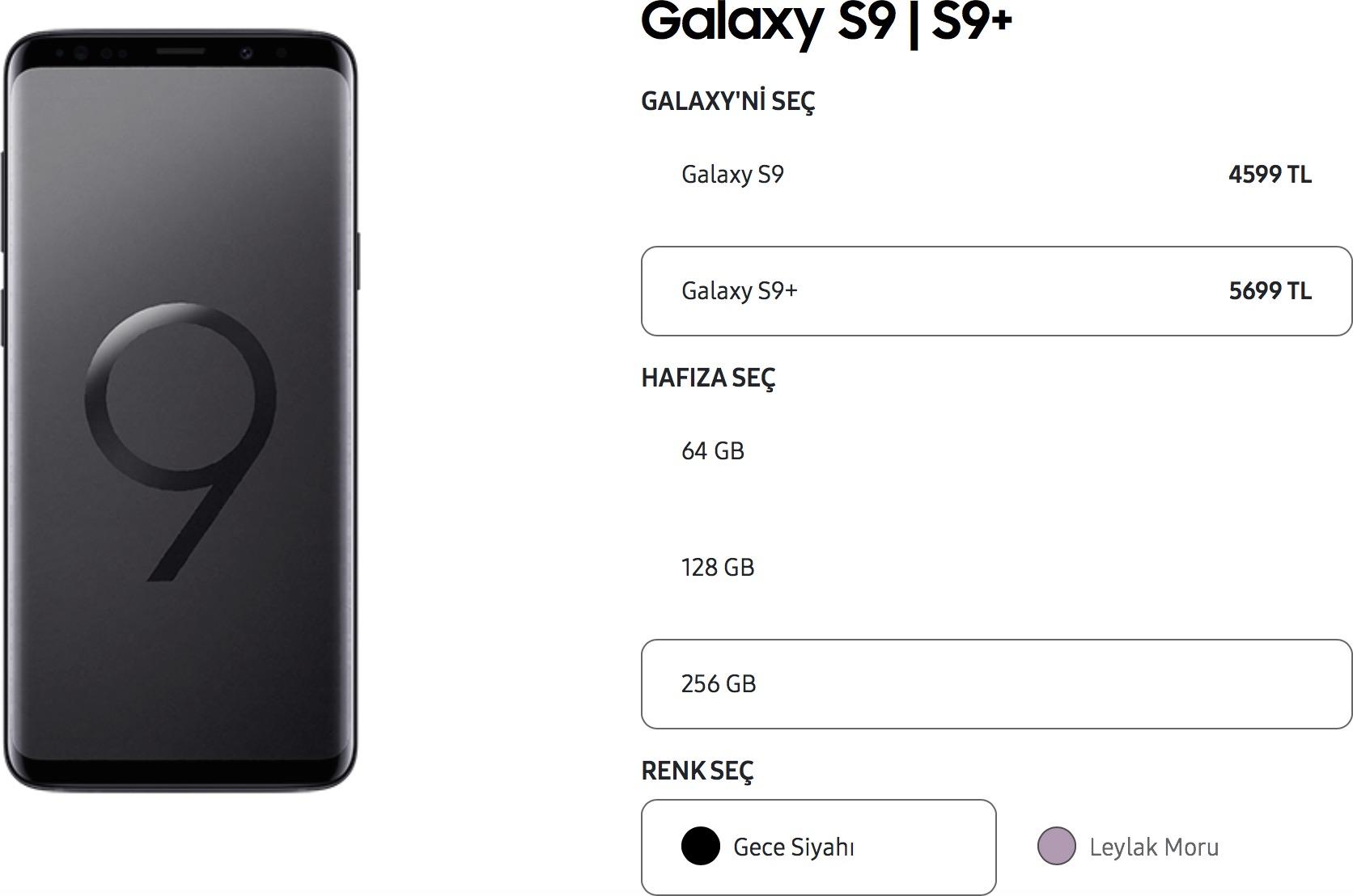 Galaxy S9+ 256 GB Türkiye fiyatı