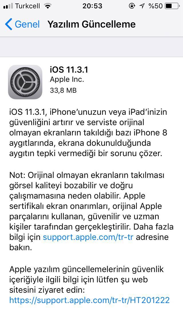iOS 11.3.1 güncellemesi, iOS 11.3.1 özellikleri