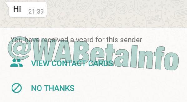 WhatsApp vCard özelliği