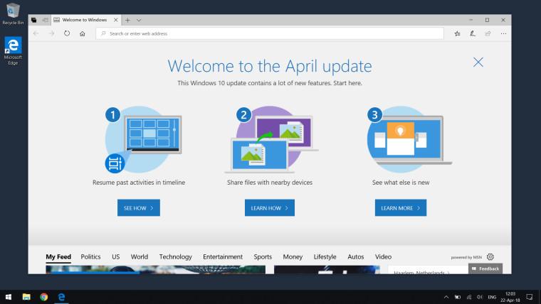 Windows 10 Nisan Güncellemesi
