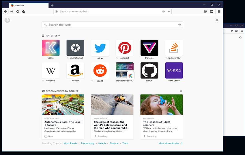 Mozilla yeni sekme