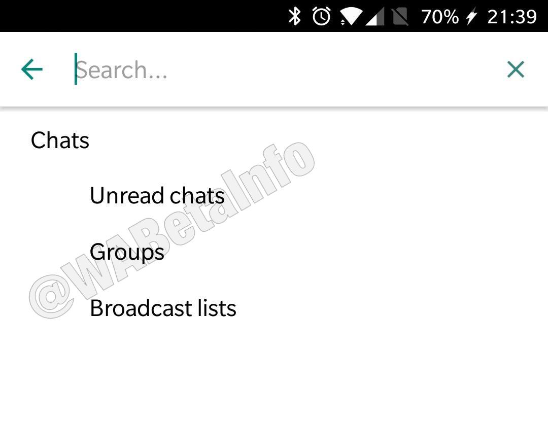 WhatsApp sohbet filtresi