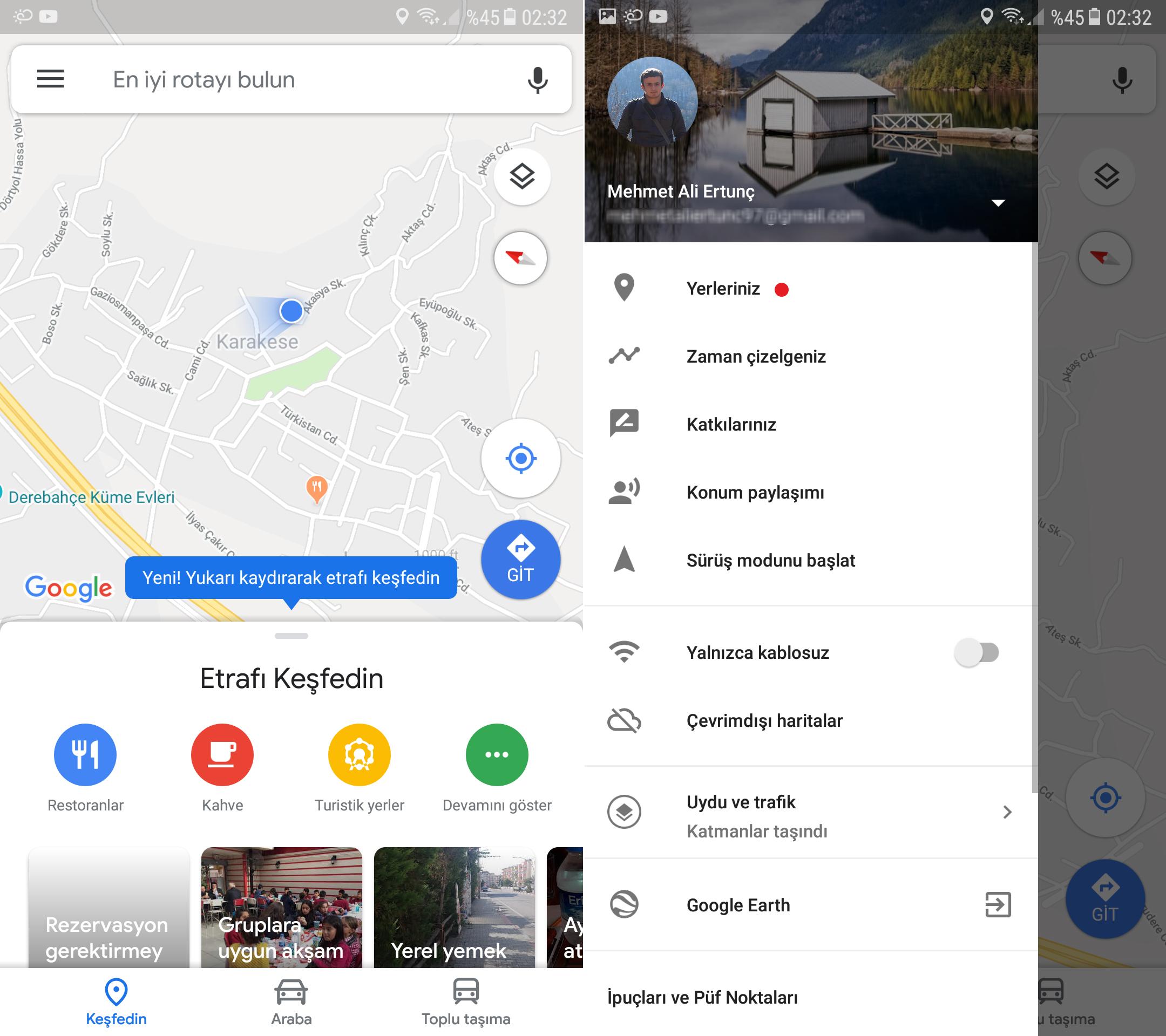 Google Haritalar yeni tasarım