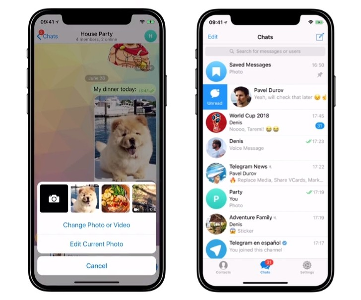 Telegram yenilikleri