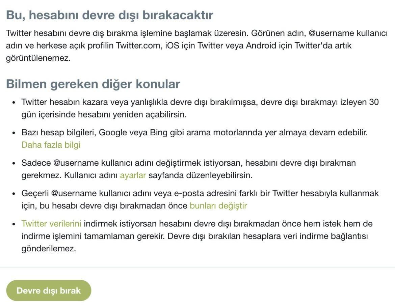 Twitter hesabını kalıcı olarak silme, Twitter hesap silme