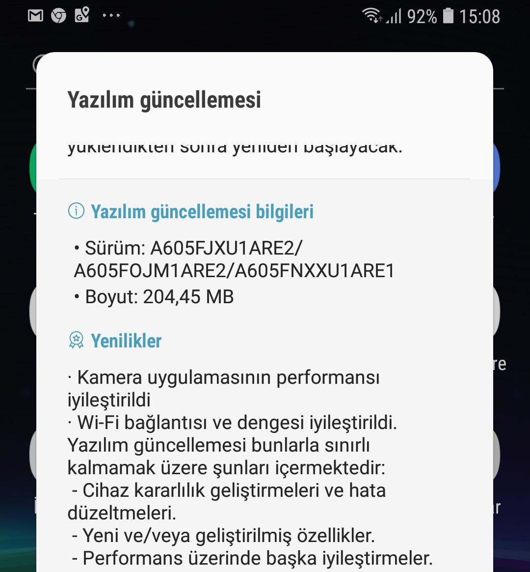 Samsung A6 Plus 2018 güncelleme