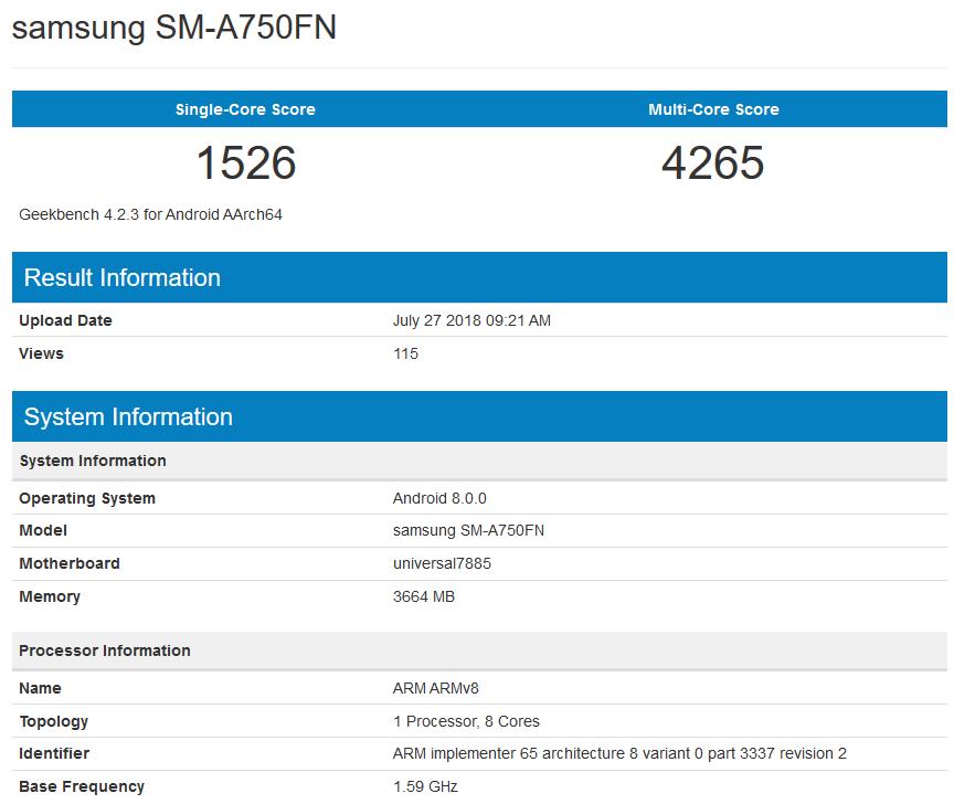Galaxy A7 2018 - Geekbench