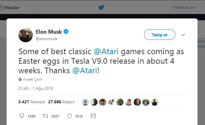 Tesla Atari oyunlarını otomobillerine taşıyor!