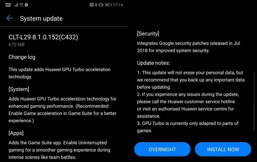 Huawei P20 Pro GPU Turbo güncellemesi!