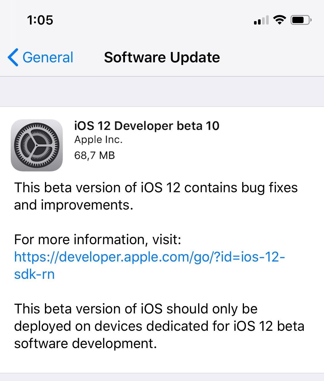 iOS 12 Beta 10 çıktı!