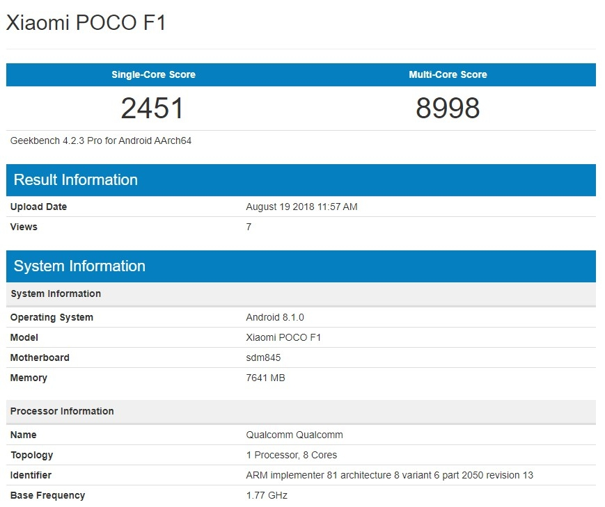 Xiaomi Pocophone F1 performans testi - Geekbench