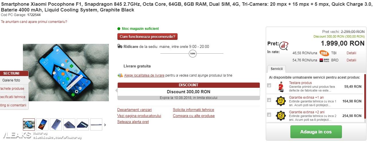 Xiaomi Pocophone F1 fiyatı