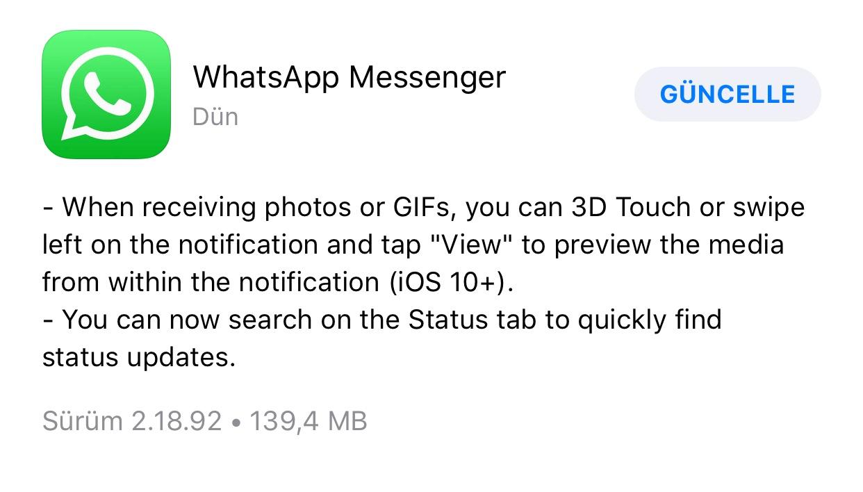 WhatsApp iOS güncelleme