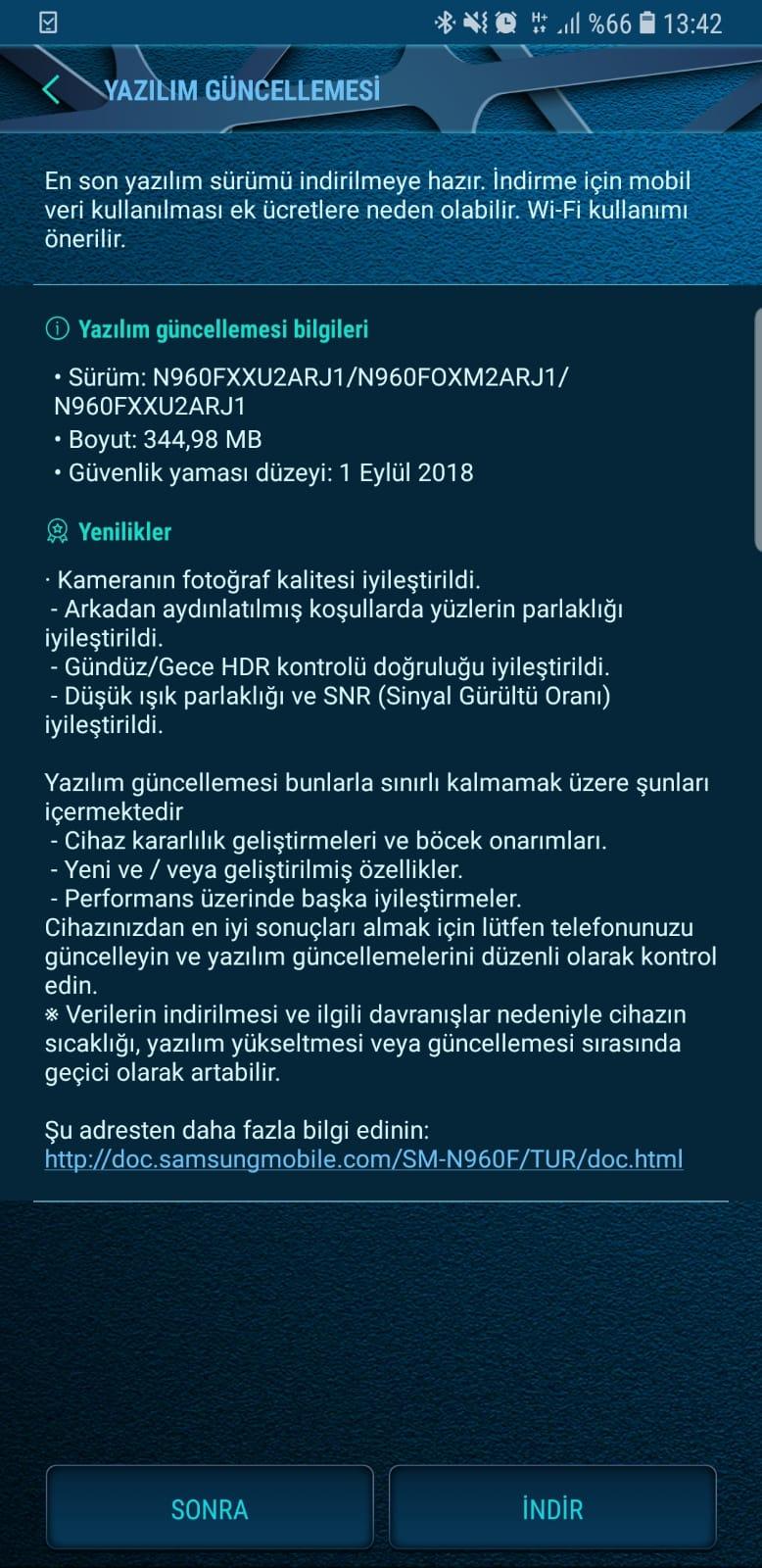 Galaxy Note 9 güncelleme