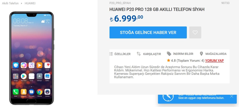 p20 pro fiyatı 2
