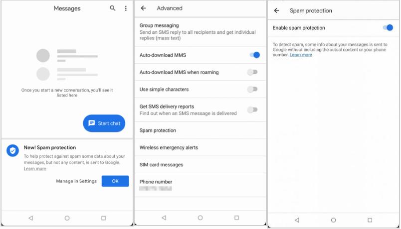 Android Mesajlar Spam