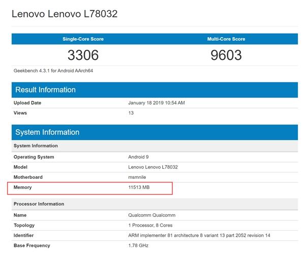 Lenovo Z5 Pro GT'nin Geekbench skoru, Lenovo Z5 Pro GT'nin Geekbench skoru