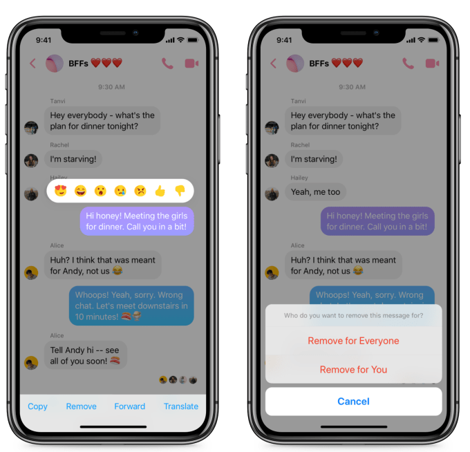 Facebook Messenger mesajları geri alma