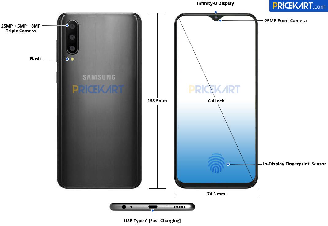 Galaxy A50 tasarımı