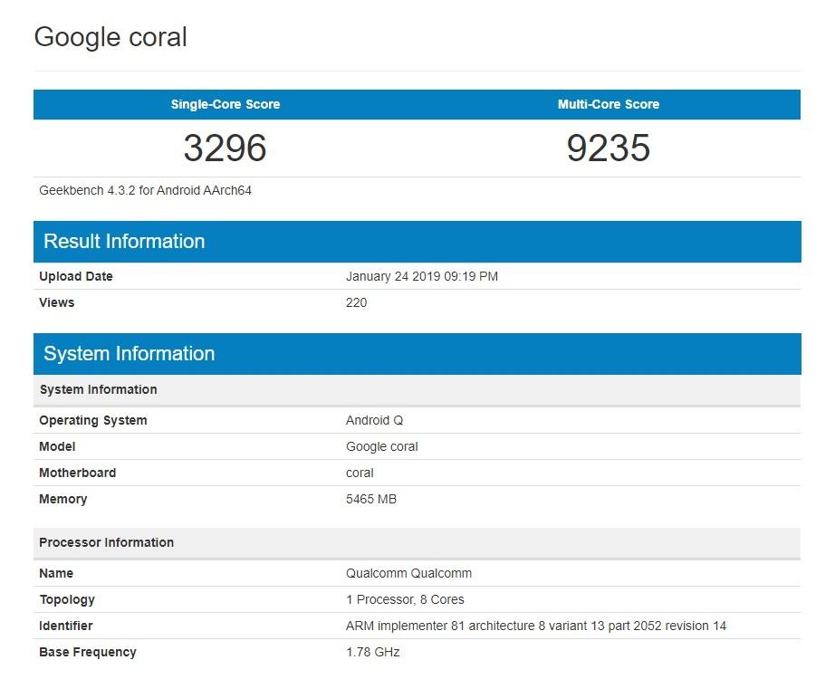 Snapdragon 855 - Google Coral