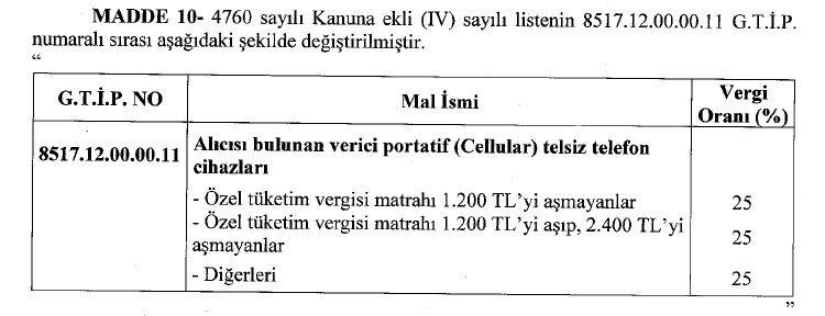 cep telefonlarından alınan ÖTV