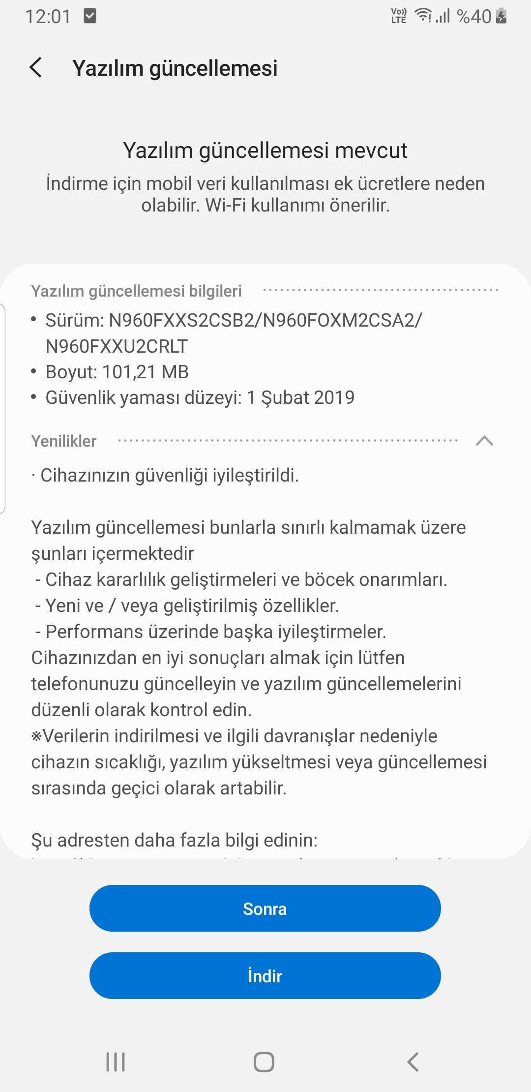 Samsung Galaxy Note 9 güncelleme