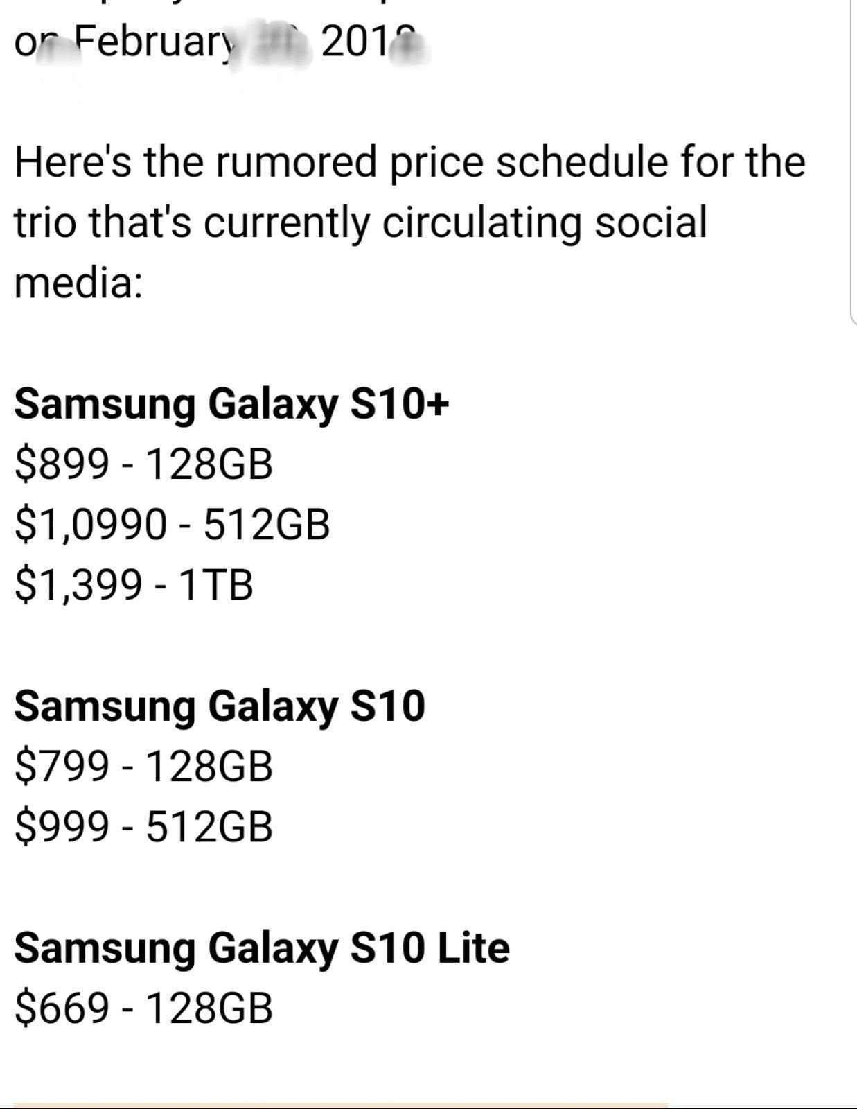 Samsun Galaxy S10 fiyatları