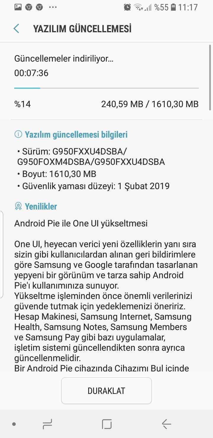 Galaxy S8 Android Pie Türkiye