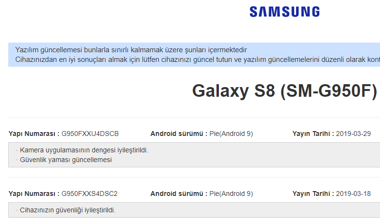 Galaxy S8 kamera güncellemesi yayınlandı!