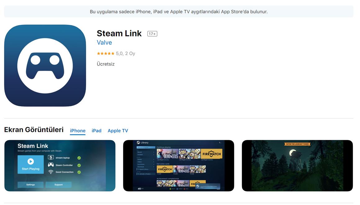 SteamLink uygulaması iPhone ve iPad'e geldi