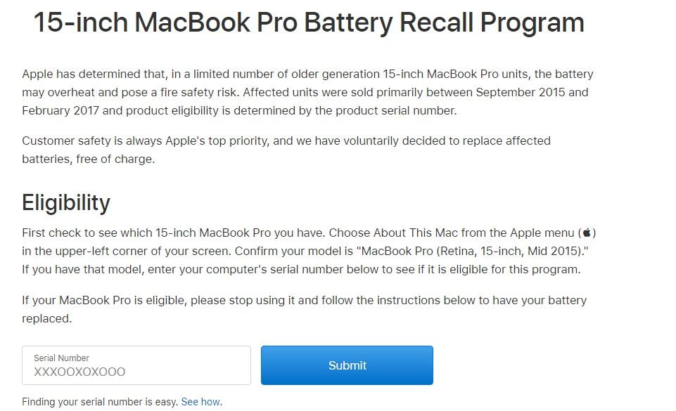 macbook pro pil değişim programı